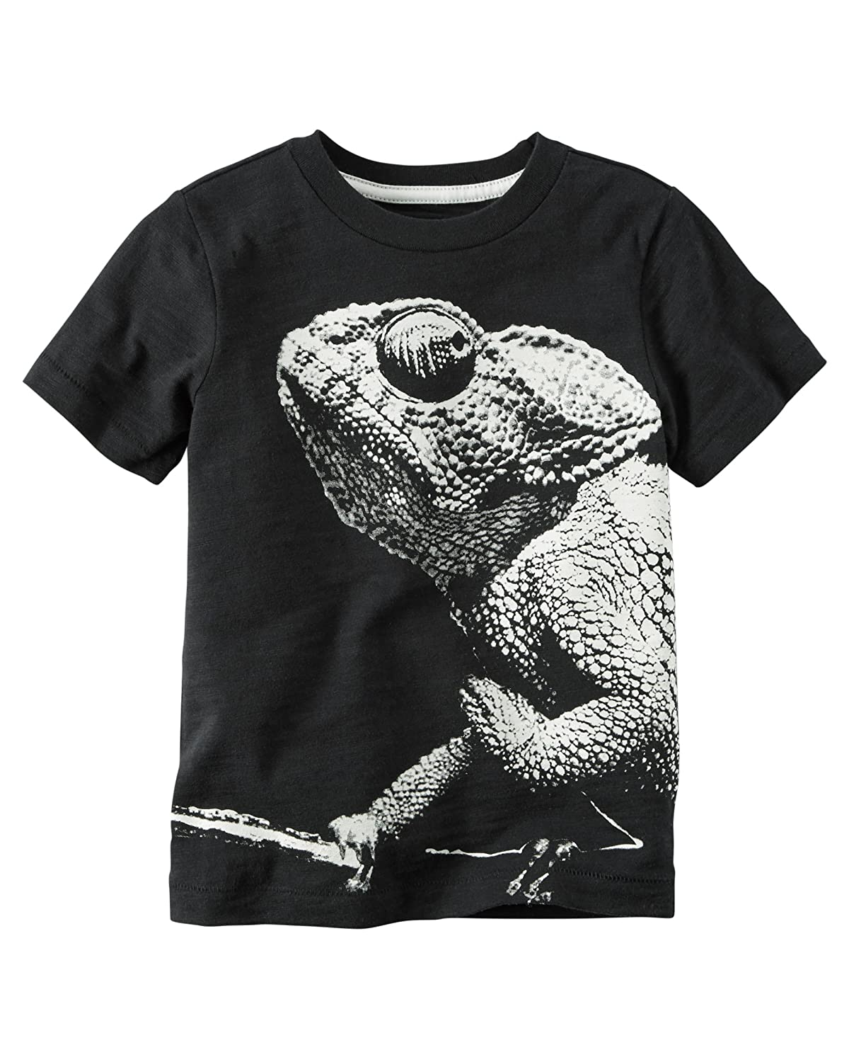 Hot Carter's Boy Short Sleeve Chameleon Graphic Tee; Black