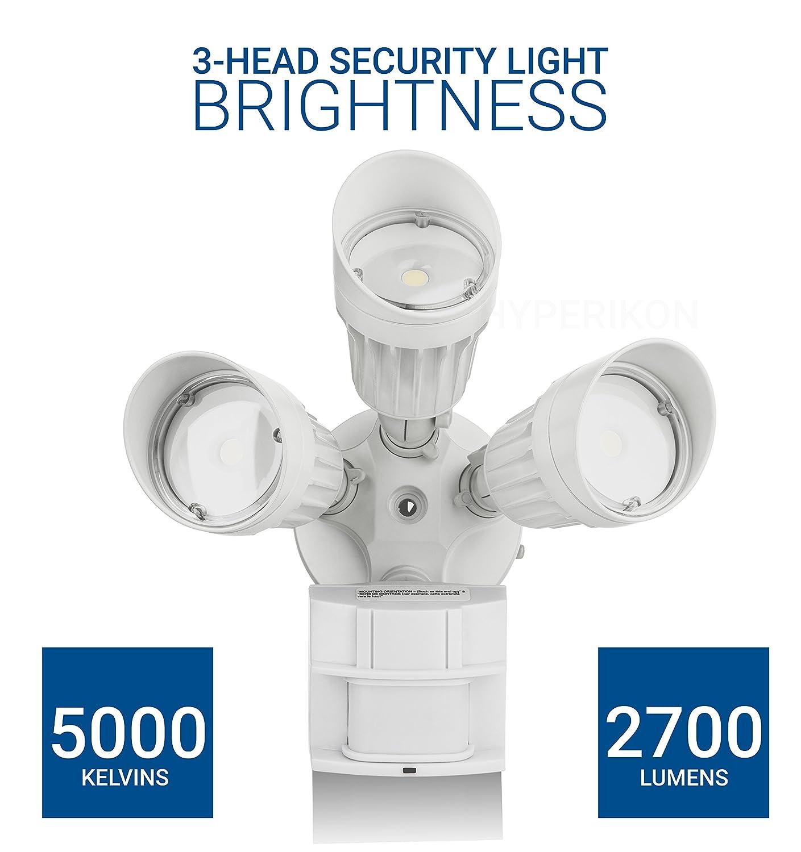 Hyperikon Led Security Light 30w 3 Head White Infrared Motion Ac Powered Circuit 120w Flood Lights Enkonn Technology Co Ltd Sensor Crystal Glow 5000k