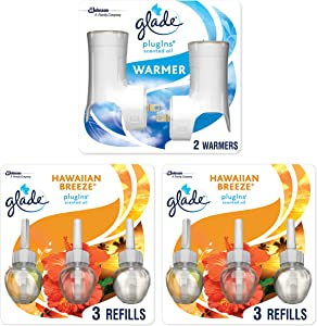 Glade PlugIns Scented Oil Starter Kit, Plug In Air Freshener and Refills, Hawaiian Breeze, 2 Warmers + 6 Refills, 4.02 Fl. Oz, Pack of 6