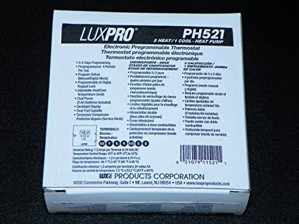 LUXPro PH521 2 Heat / 1 Cool - Heat Pump Electronic Programmable Thermostat (5-