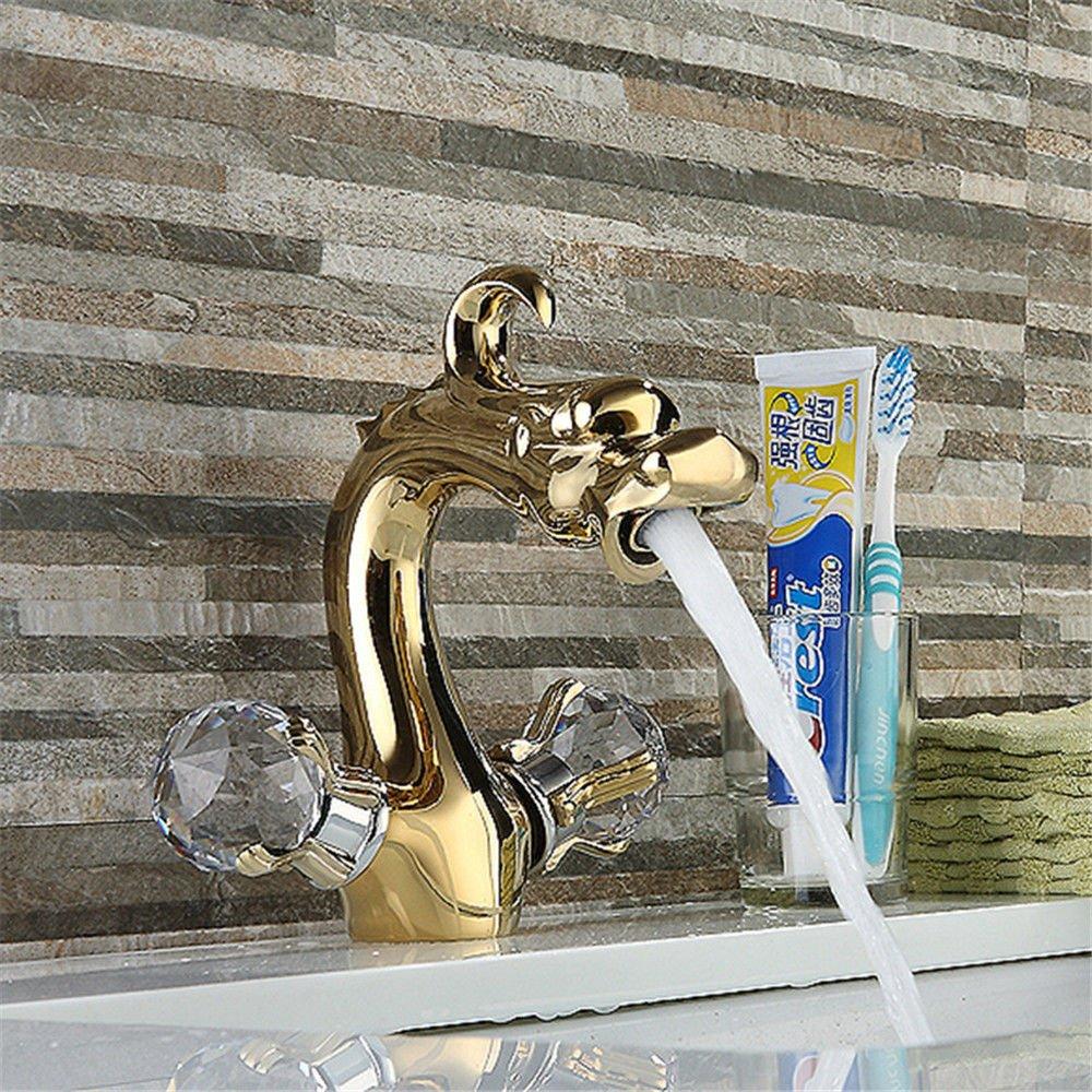 AQiMM Wasserhahn Wasserfall Armatur Waschtischarmaturen Wasserfall Chrom Tippen Für Heißes Und Kaltes Wasser Einhebelsteuerung Waschbecken Waschbecken Armaturen Waschbeckenarmatur Für