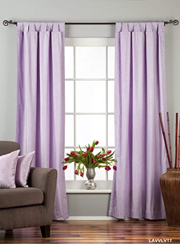 Indian Selections Lined-Lavender Tab Top Velvet Curtain/Drape/Panel