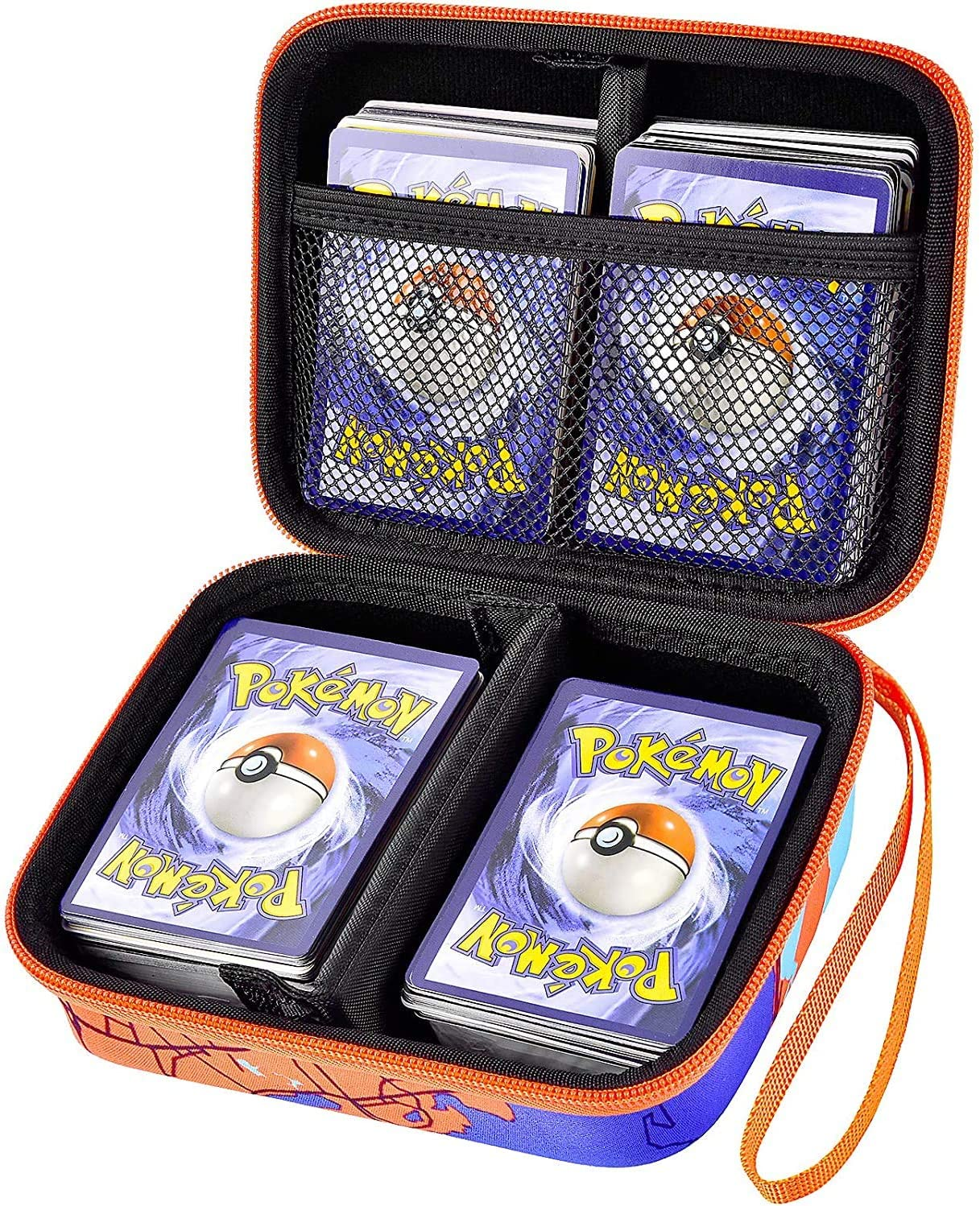 Cards Box Case Compatible with Pokemon Trading Card, Fits Up to 400+ PM TCG Card Game Holder Storage Boxes for 1st Edition PM Booster Packs -Orange