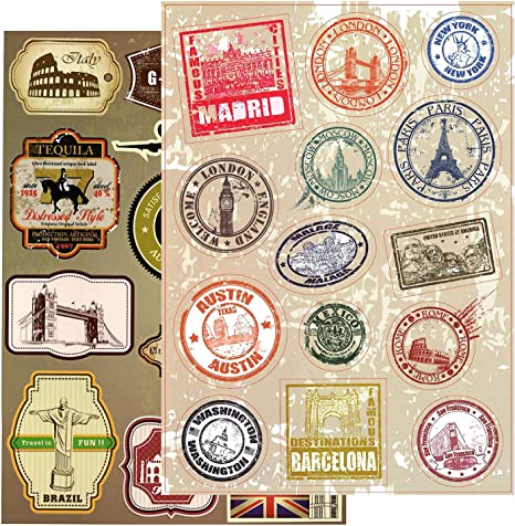 Kit^ 55 Retro Vintage Old Fashioned Style Luggage Suitcase Travel Stickers