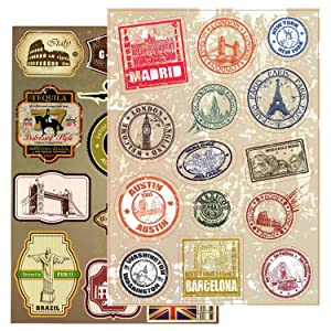 T&B Vintage Stickers 2PCS Multi Countries Retro Landmark Monument Travel Airline Plane Patterns Stickers Luggage Suitcase Laptop Waterproof Stickers Children's Room Decor Labels A4#6 2nd Version