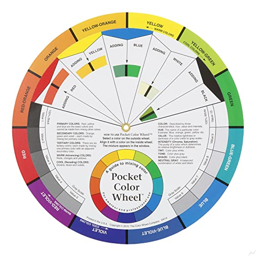 Amazon Com Color Wheel Pocket Guide With Gray Scale Value Finder
