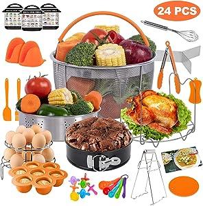 PentaQ Instant Pot Accessories 24 Pieces Pressure Cooker Accessories Set Orange Compatible with 5/6/8 Quart- Steamer Basket, Egg Rack, Non-Stick Springform Pan, Dish Plate Clip, Kitchen Tong …