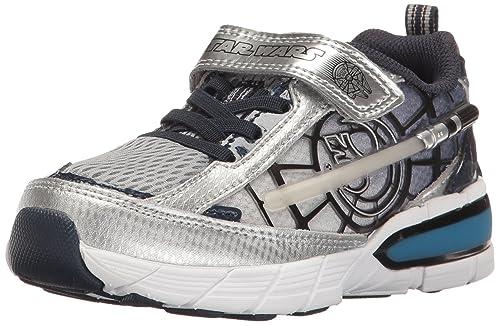 fdb3a2fb8716ac Stride Rite Boys  Star Wars Hyperdrive Heroes Lightsaber Sneaker  Silver Navy 8.5 W US