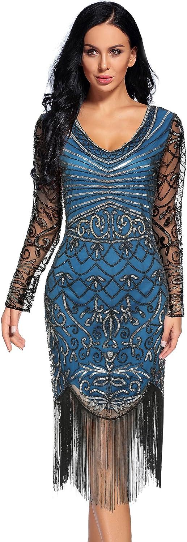 Women's 1920s Sequin Art Deco Flapper Dresses Great Gatsby Prom Cocktail Dress