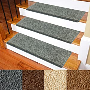 """Carpet Stair Treads – Non-Slip Bullnose Carpet for Stairs – Indoor Stair Pads – Self-Adhesive & Easy Installation – Pet & Child Friendly – Skid Resistant & Washable – 14- Pack Grey 10"""" x 30""""x 1.3"""""""