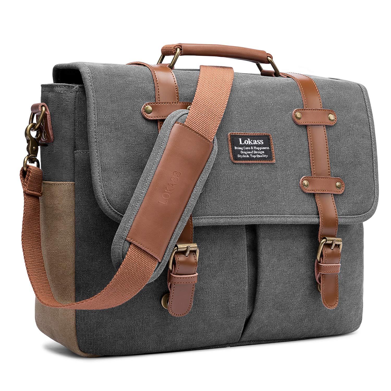 LOKASS Men Laptop Messenger Bag Vintage Genuine Leather Canvas Satchel 15.6  Inch Laptop Shoulder Bag Handbag Briefcase for Travel Work School (Canvas  Dark ... a7ba201a1baf6