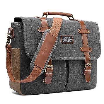 349648614ec81 LOKASS Herren Umhängetasche Vintage Canvas Messenger Bag Kuriertasche  Schultertasche Uni Schultasche Business Aktentasche Laptoptasche für 15