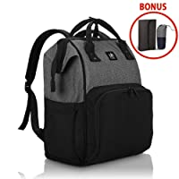 Diaper Tote Bag, Nappy Changing Backpack - Multi-Function Travel Backpack Organizer and Baby Caddy - Lightweight, Waterproof, Large Capacity - with Changing Mat and Bottle Insulated Bag