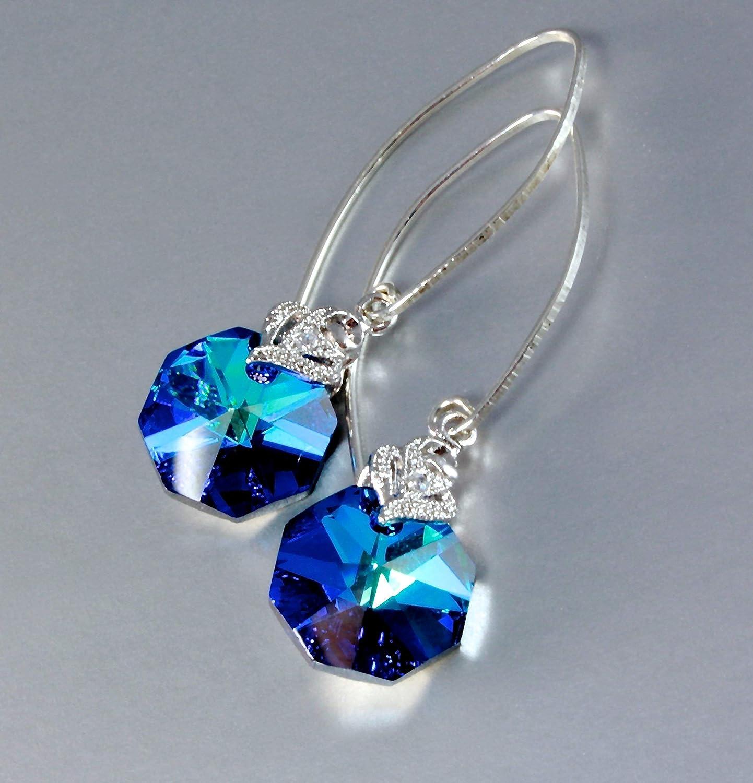 Amazon.com: Bermuda Blue Swarovski Crystal Earrings: Handmade