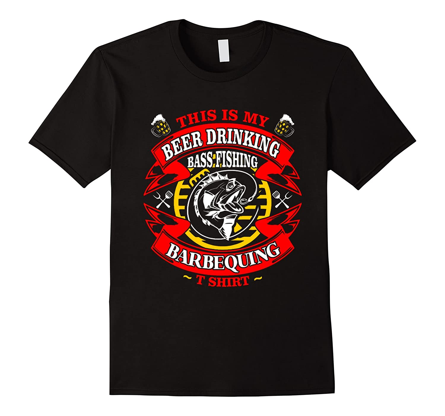 My Beer Drinking Bass Fishing Barbequing Tshirt-PL