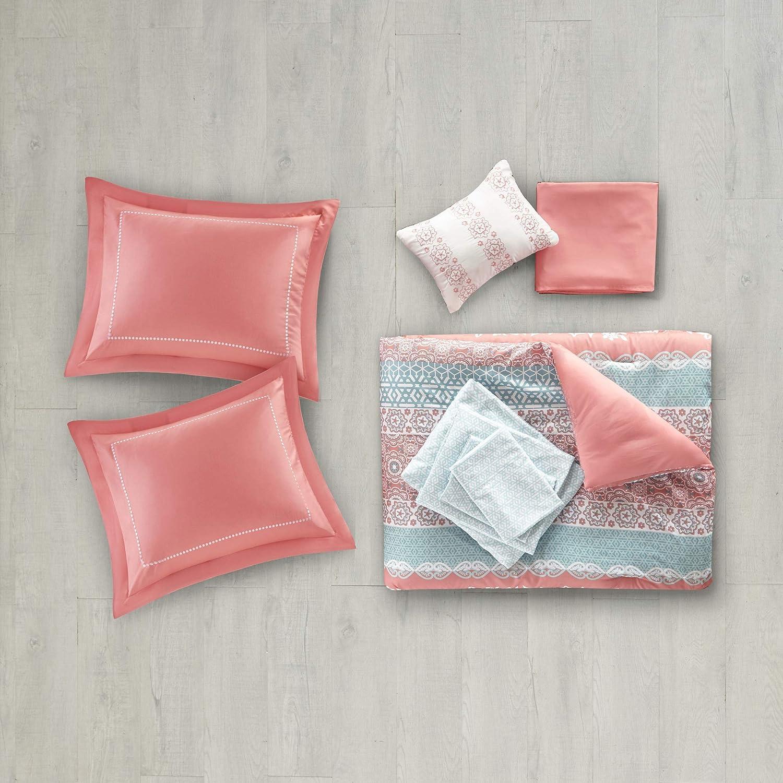 Bohemian Chic Medallion Coral 9 Piece Bed Sets Intelligent Design Loretta Comforter Set Full Size Bed in A Bag Ultra Soft Microfiber Teen Bedding for Girls Bedroom Aqua