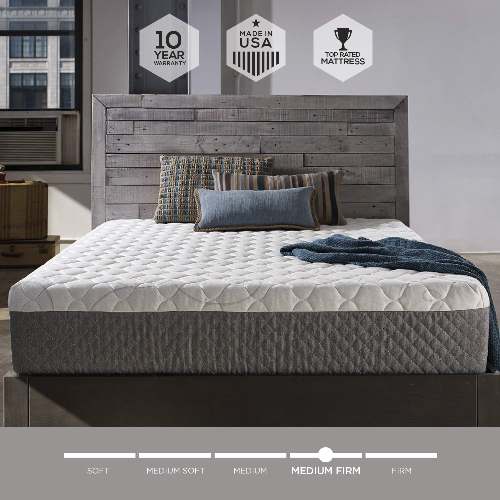 Sleep Innovations Taylor 12-inch Gel Memory Foam, Original Cover Mattress, King, White by Sleep Innovations
