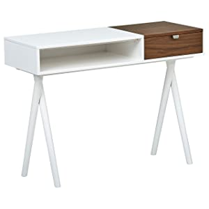 "Rivet Modern Cross Legged White Laquer with Wood Accent Home Office Computer Desk, 42""L, White Gloss and Walnut"