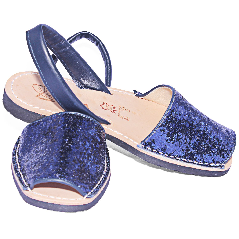 Ibizitas Avarcas Women's Flat Leather Handmade Slingback Sandals B07DHPHCSM 9 B(M) US|Blue Navy