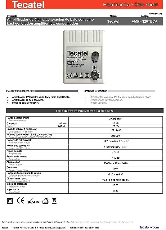 Tecatel - Amplificador interior Tecatel 20dB, 95dBuV: Amazon.es: Electrónica
