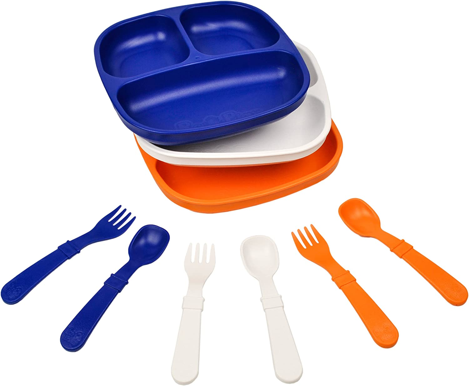 Re-Play Made in The USA Dinnerware Set 3pk Divided Plates with Matching Utensils Set Sport