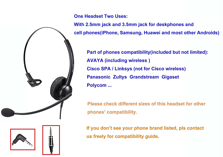 Teléfono Móvil oficina RJ9 auriculares binaurales para teléfono con cancelación de ruido micrófono Plus adicional de 3,5 mm conector para teléfonos móviles ...