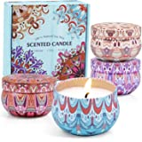 SCENTORINI Scented Candles, Soy Wax Candles, Aromatherapy Candles, Candles Christmas Gift Set, Linen, Cinnamon & Apple, Laven