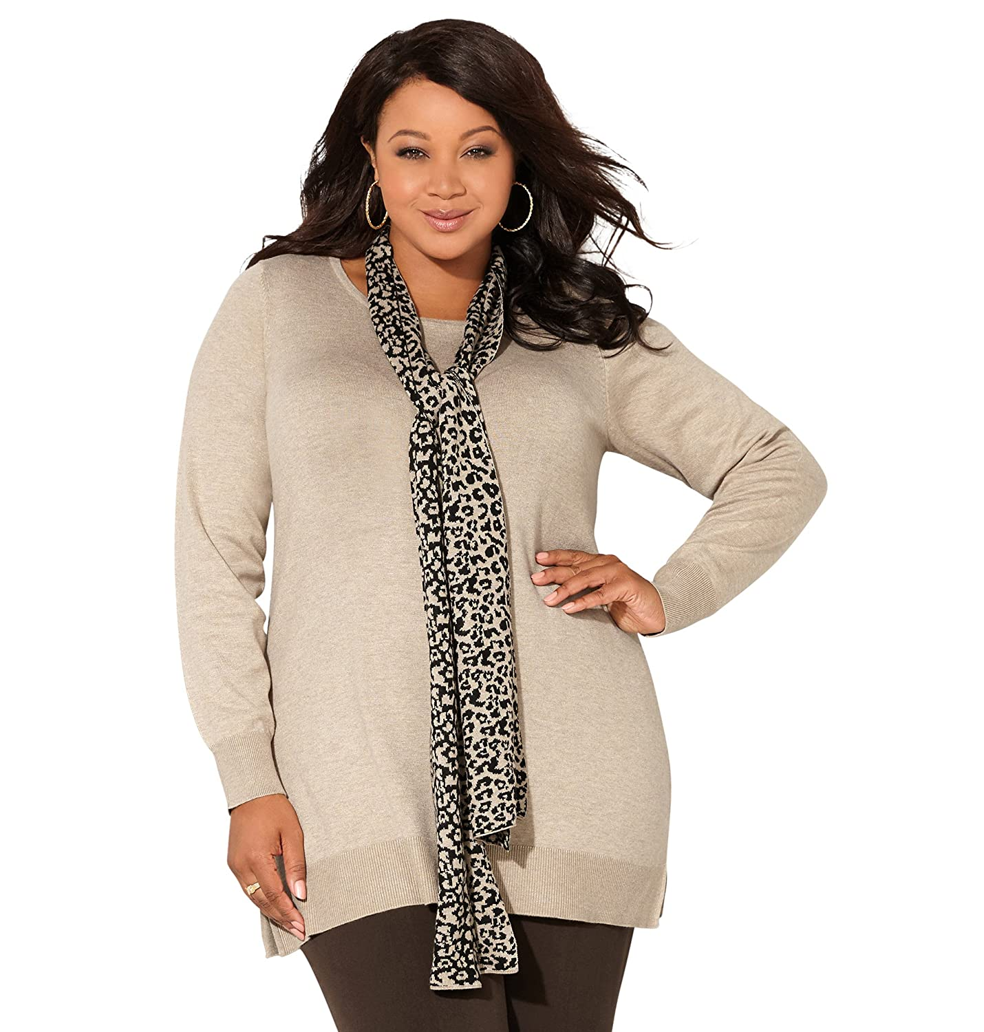 AVENUE Women's Pullover Sweater with Cheetah Removable Scarf
