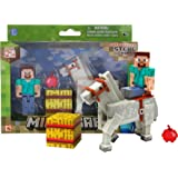 """Overworld Steve (~2.75"""") & Horse (~3.25""""): Minecraft Mini Fully Articulated Action Figure Series #2"""
