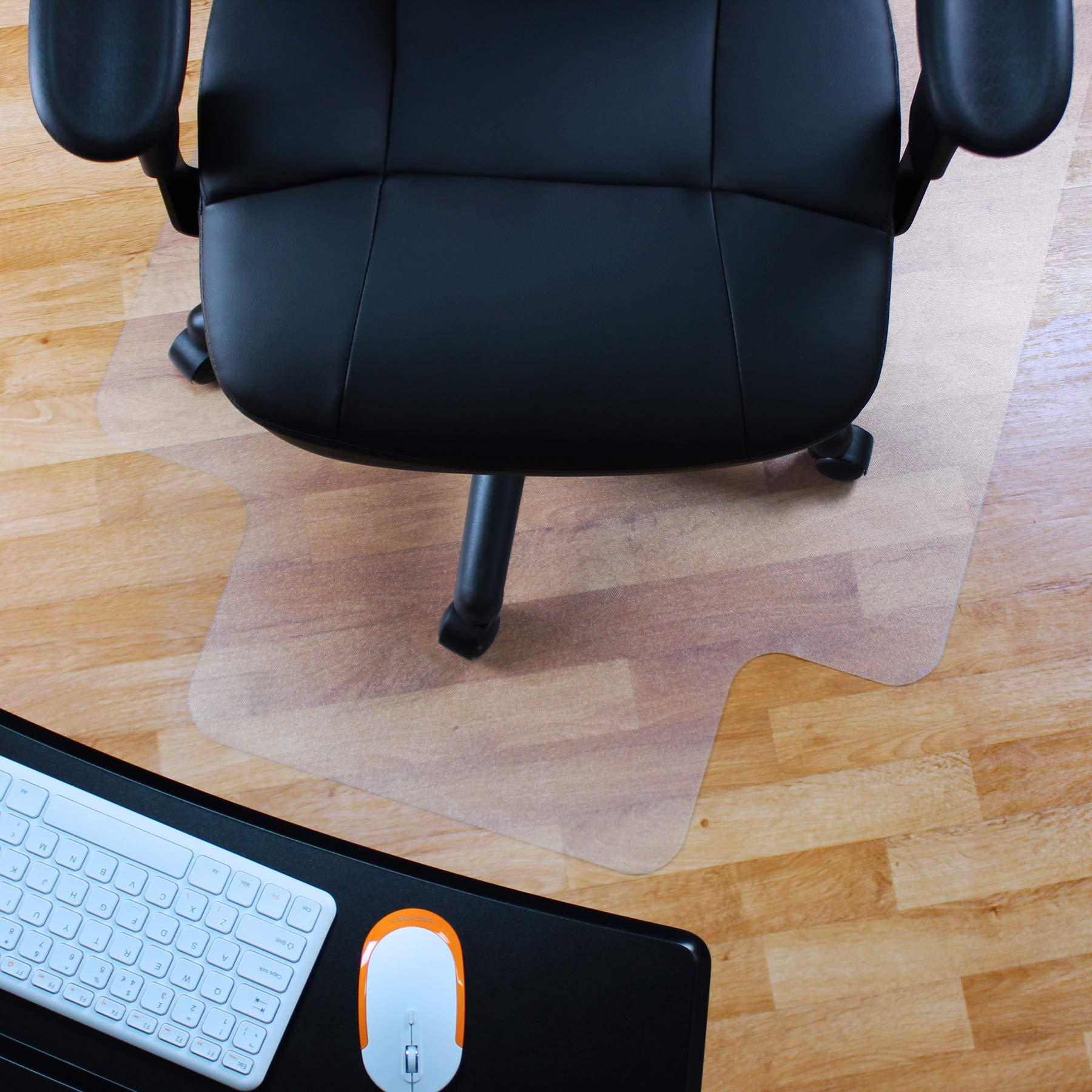 Marvelux 48'' x 51'' Vinyl (PVC) Lipped Chair Mat for Hard Floors | Transparent Hard Floor Protector | Multiple Sizes