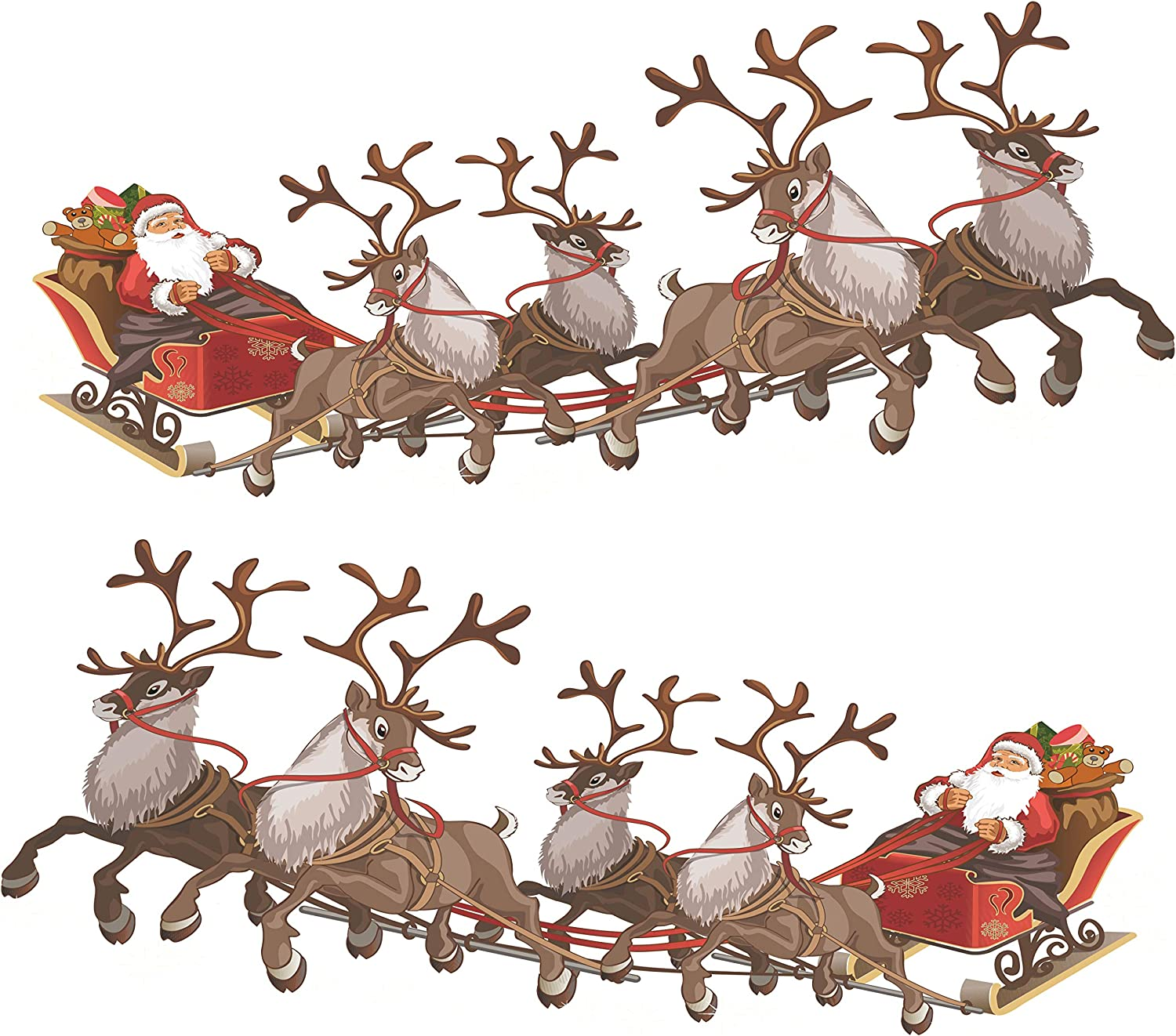 Set Of 2 Small Santa Sleigh And Reindeer Full Colour Window Cling Sticker Christmas Window Decorations By Stickers4 Small Amazon Co Uk Kitchen Home