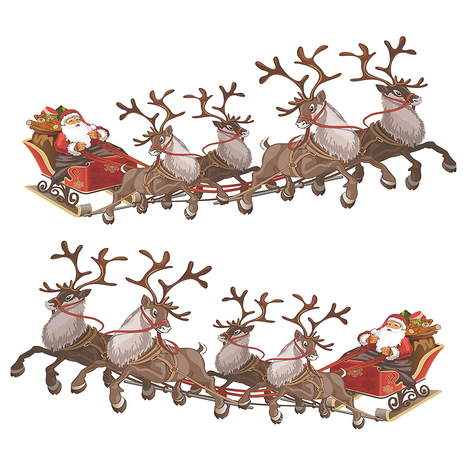 Christmas Reindeer.Set Of 2 Small Santa Sleigh And Reindeer Full Colour Window Cling Sticker Christmas Window Decorations By Stickers4 Small
