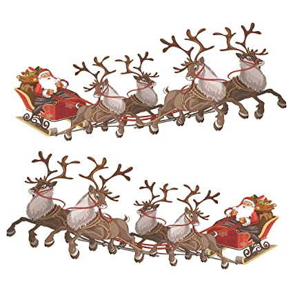 57129ea35f Set of 2 Small Santa Sleigh and Reindeer Full Colour Window Cling Sticker.  Christmas Window Decorations by Stickers4 (Small)  Amazon.co.uk  Kitchen    Home