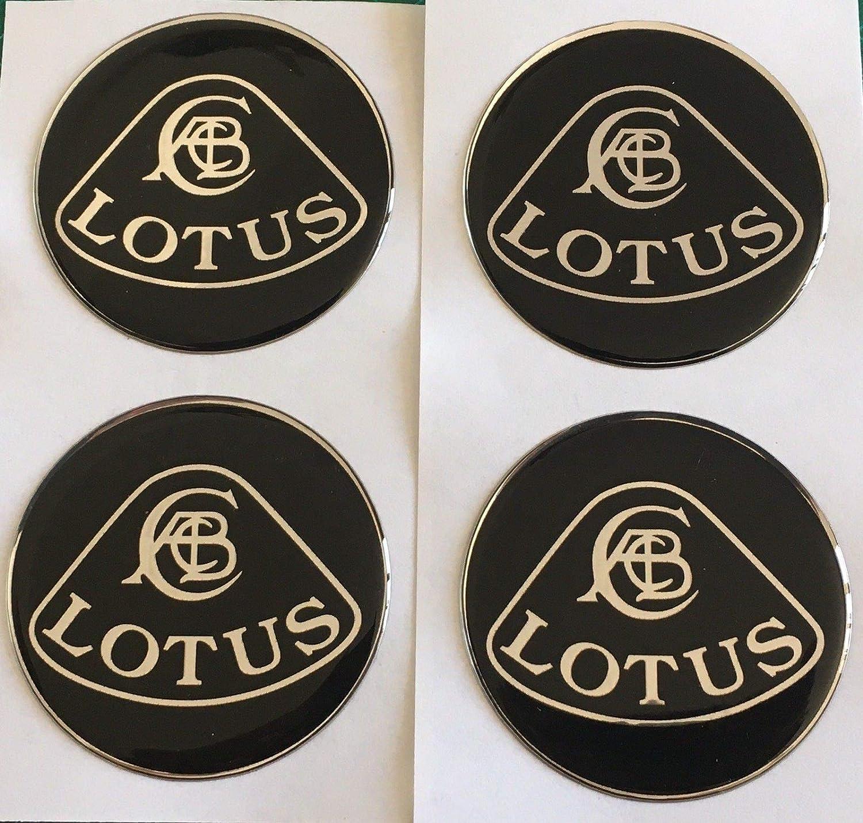 SCOOBY DESIGNS Lotus Centre de Roue en Alliage Capuchon Stickers en Forme de d/ôme R/ésine X4/Chrome Noir Elan Elise Exige Evora