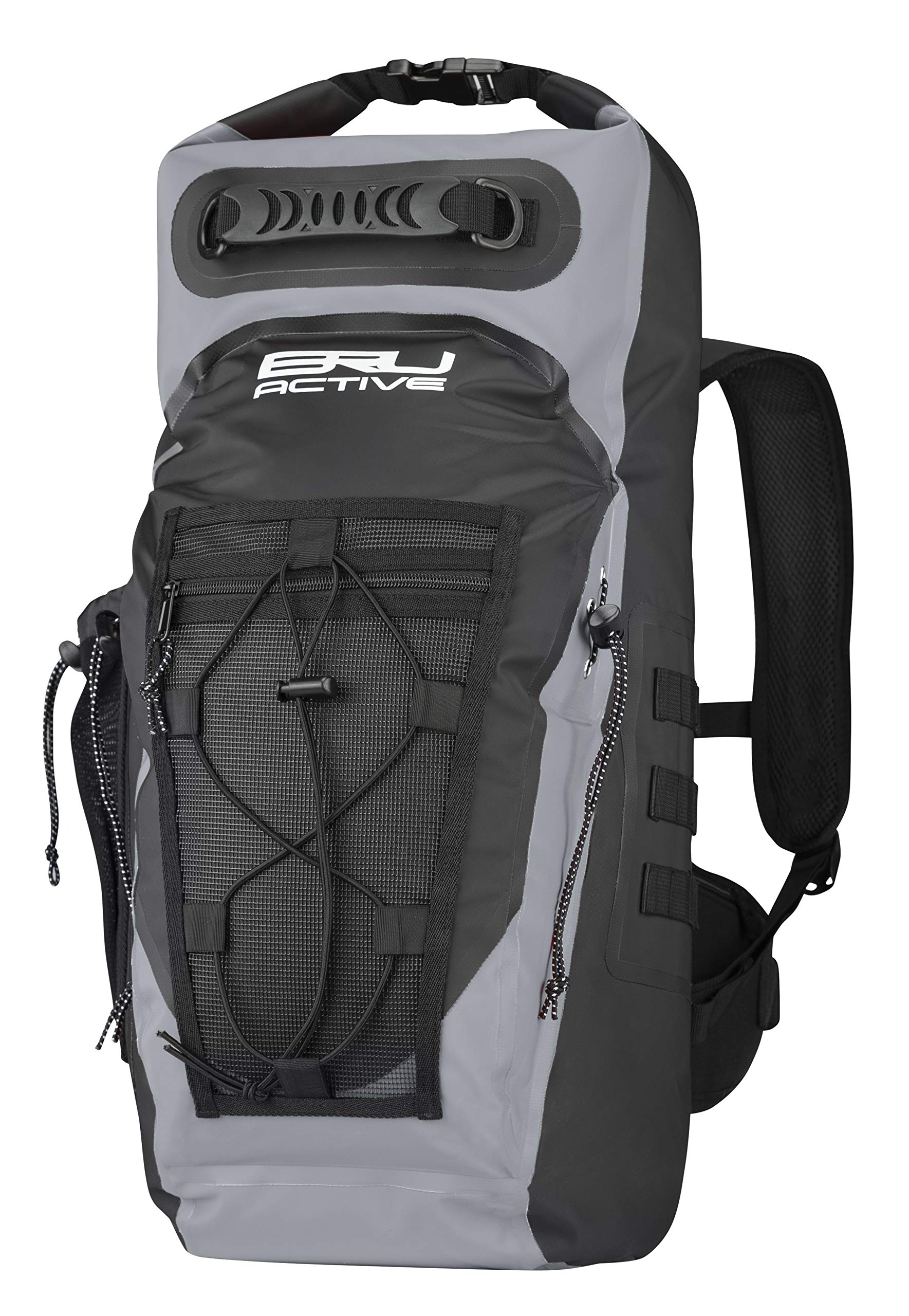 BRU Active Premium Dry Backpack Waterproof - 35L Waterproof Backpack - Sizes Zippers, Drawstring, Heavy Duty Adjustable Straps Kayaking, Boating, Hiking, Water Sports, Fishing (Gray, 35L) by BRU Active