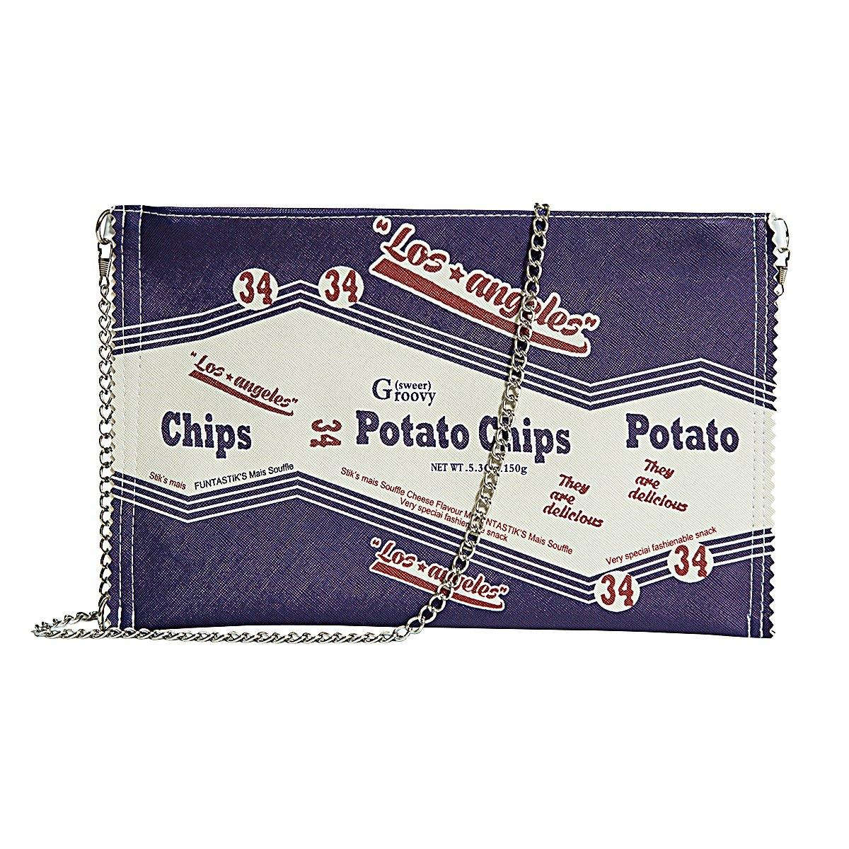 9b9d08323504 Zarapack Women's Pu Leather Yummy Potato Chips Vintage Style Clutch ...