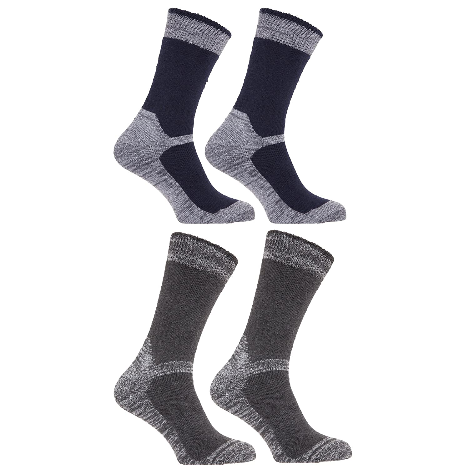 Mens Heavy Weight Reinforced Toe Work Boot Socks (Pack Of 4) (US Shoe 7-13) (Black/Grey) at Amazon Mens Clothing store: Casual Socks