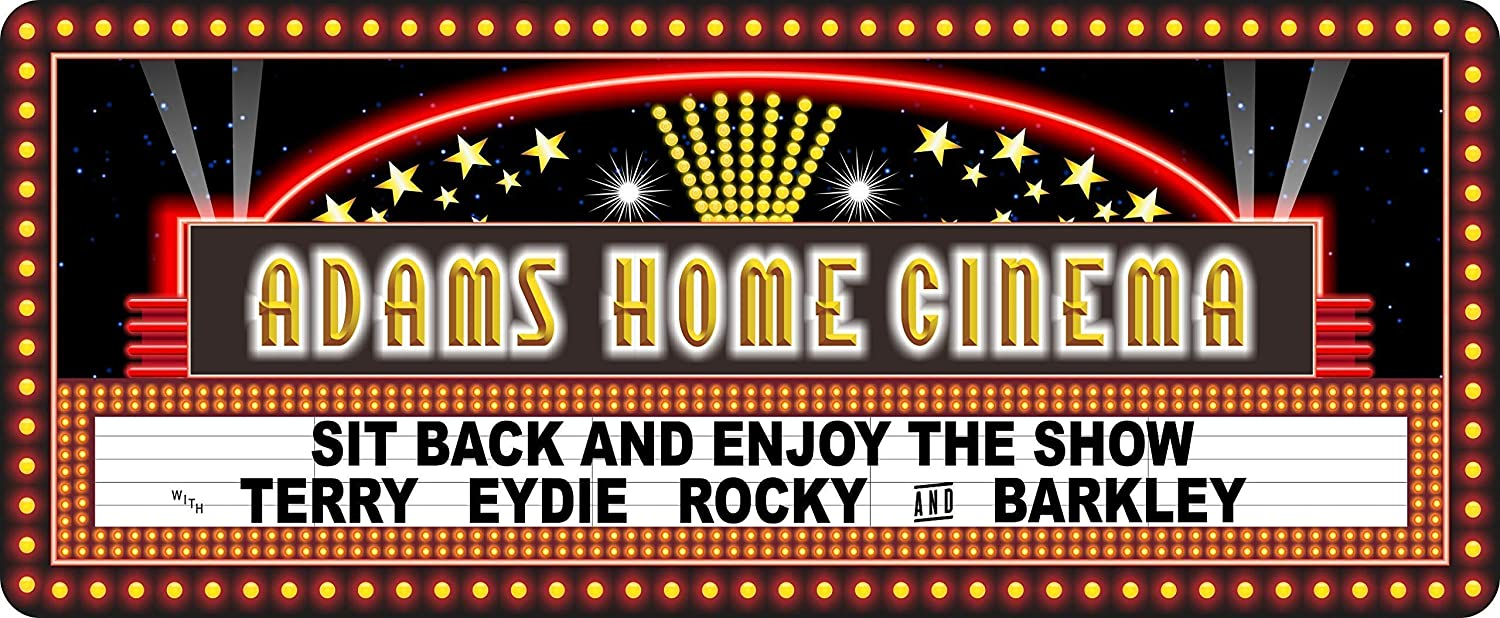 Custom Made Retro Style Home Cinema Sign with Gold Stars