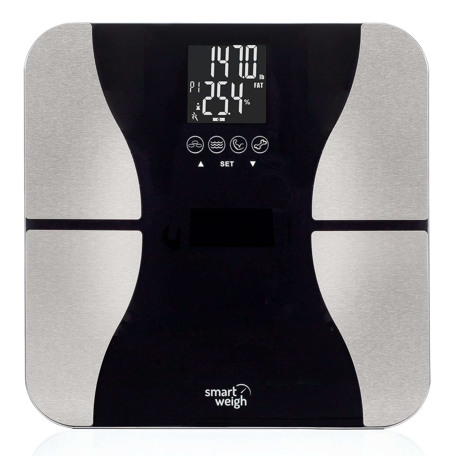 Smart Weigh Body Fat Digital Precision Scale with Tempered Glass Platform, Eight User Recognition, and 440 lb Weight Capacity, Measures Weight, Body Fat, Water, Muscle and Bone Mass SBS500