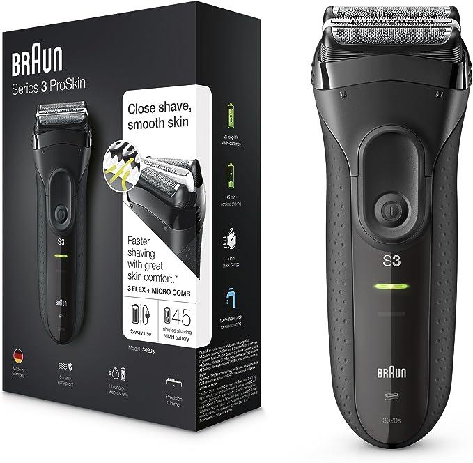 Braun Series 3 ProSkin 3020s Afeitadora Eléctrica Hombre, Afeitadora Barba Inalámbrica y Recargable, Máquina de Afeitar para Hombre, Negro: Braun: Amazon.es: Salud y ...