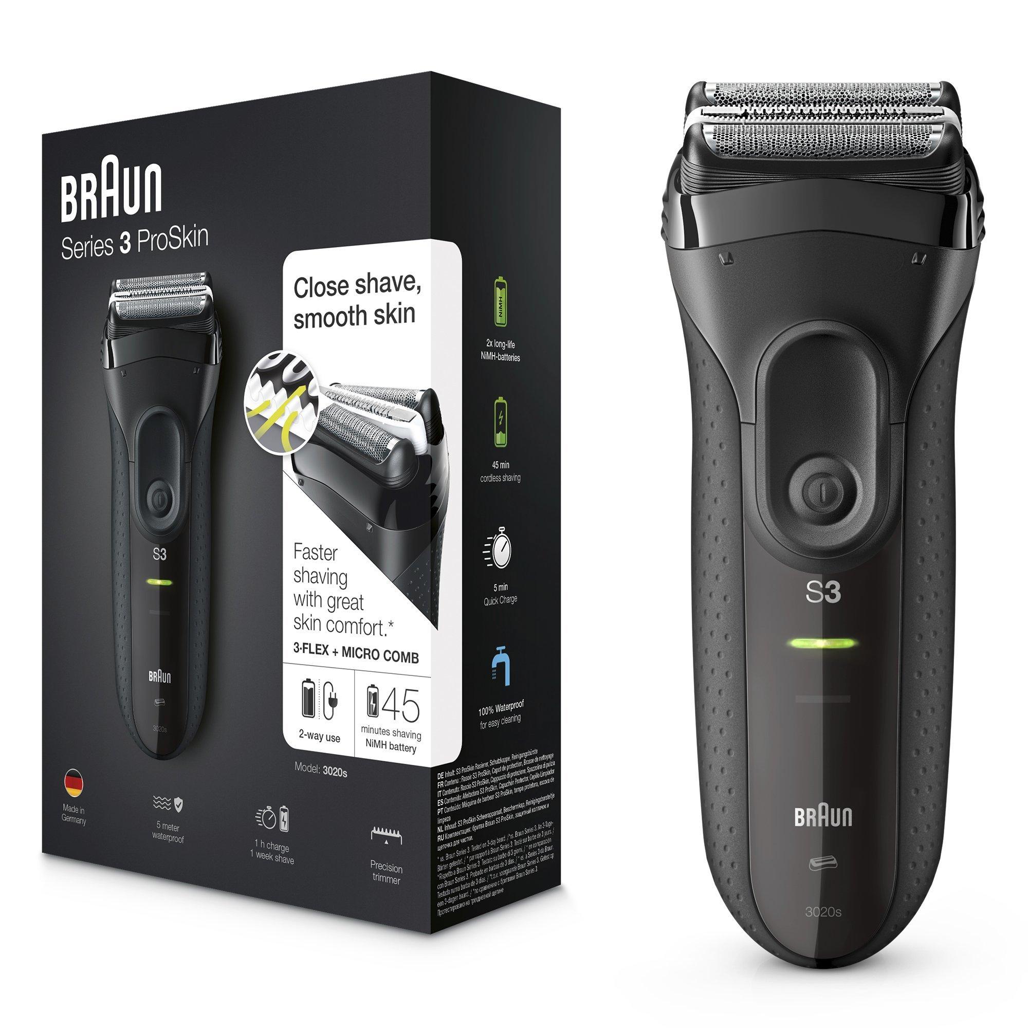 Braun Series 3 ProSkin 3020s - Afeitadora eléctrica inalámbrica y recargable, máquina de afeitar para