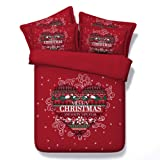 SEIAOING 3D Christmas Cross Stitch Bedding Sets Red