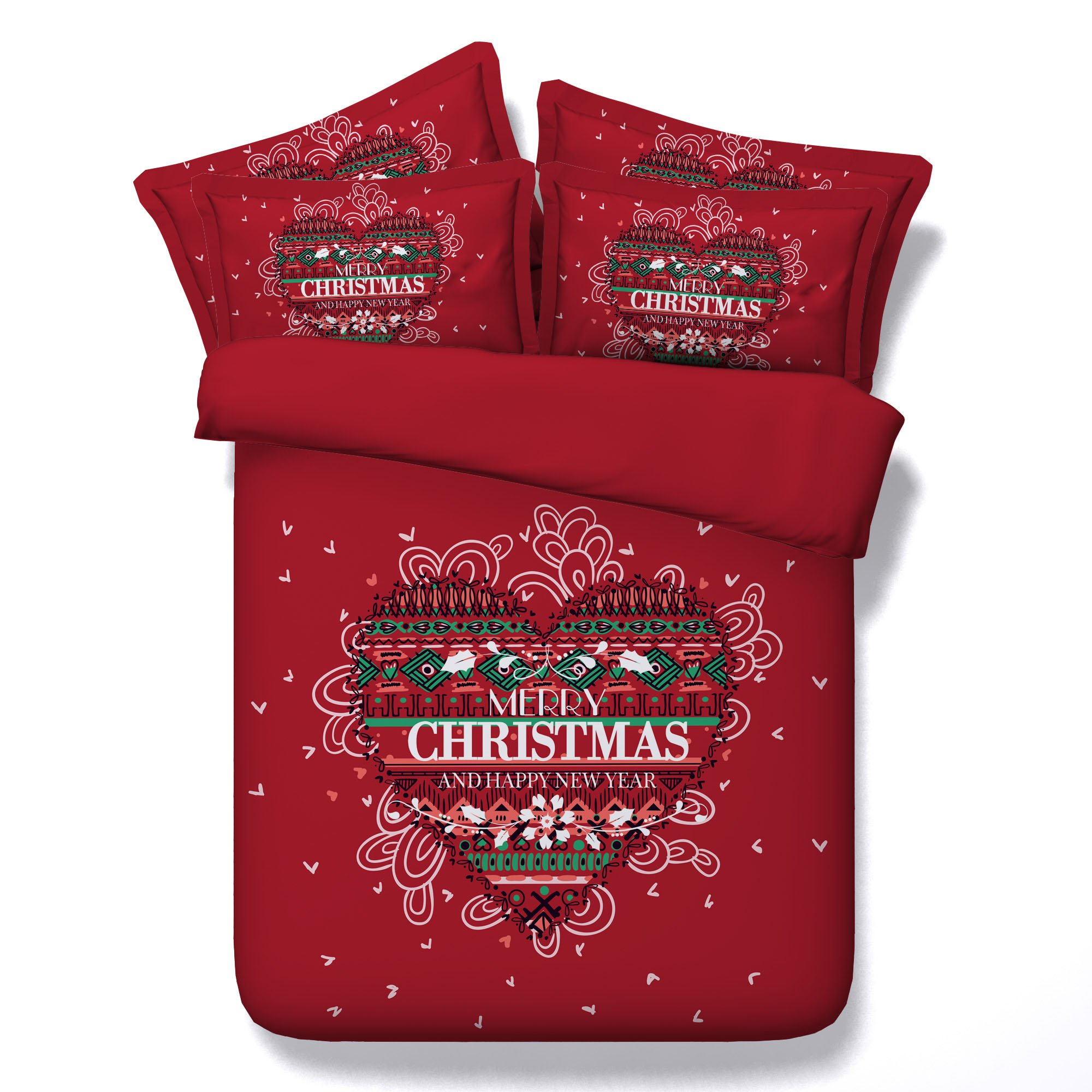 3D Christmas Cross Stitch Bedding Sets Red Duvet Cover Set Heat Love Bedspreads 3 Piece Set for Teens Adults Children Boys Girls Traditional Designer (Cal King)