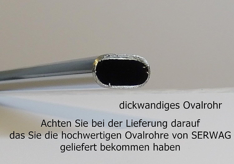 40-120cm Ovalrohr 30 x 15 mm chrom Kleiderstange Oval mit 2 Wandhalterung