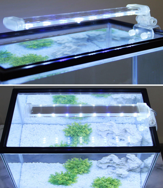 BPS® Lámpara de Acuario LED Iluminación Luces para Plantas Sumergible Luz Blanco y Azul 2 Modelos para Elegir 4W/8W (8W: 300 x 40 mm) BPS-6872