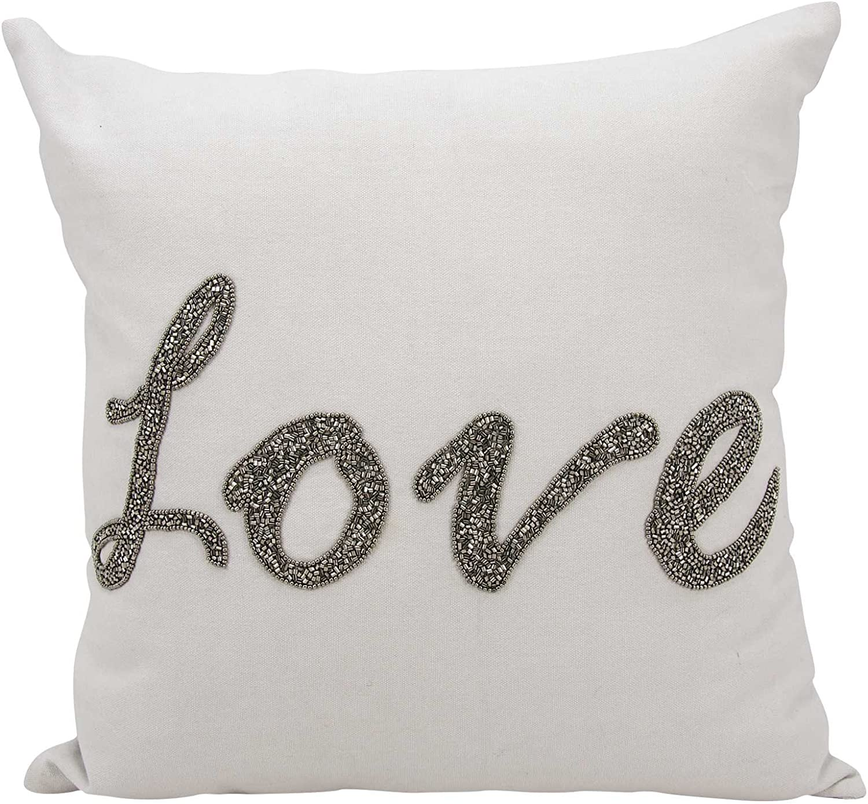 14 x 20 Nourison Mina Victory E3006 Mina Victory Beaded Love Champagne Decorative Pillow