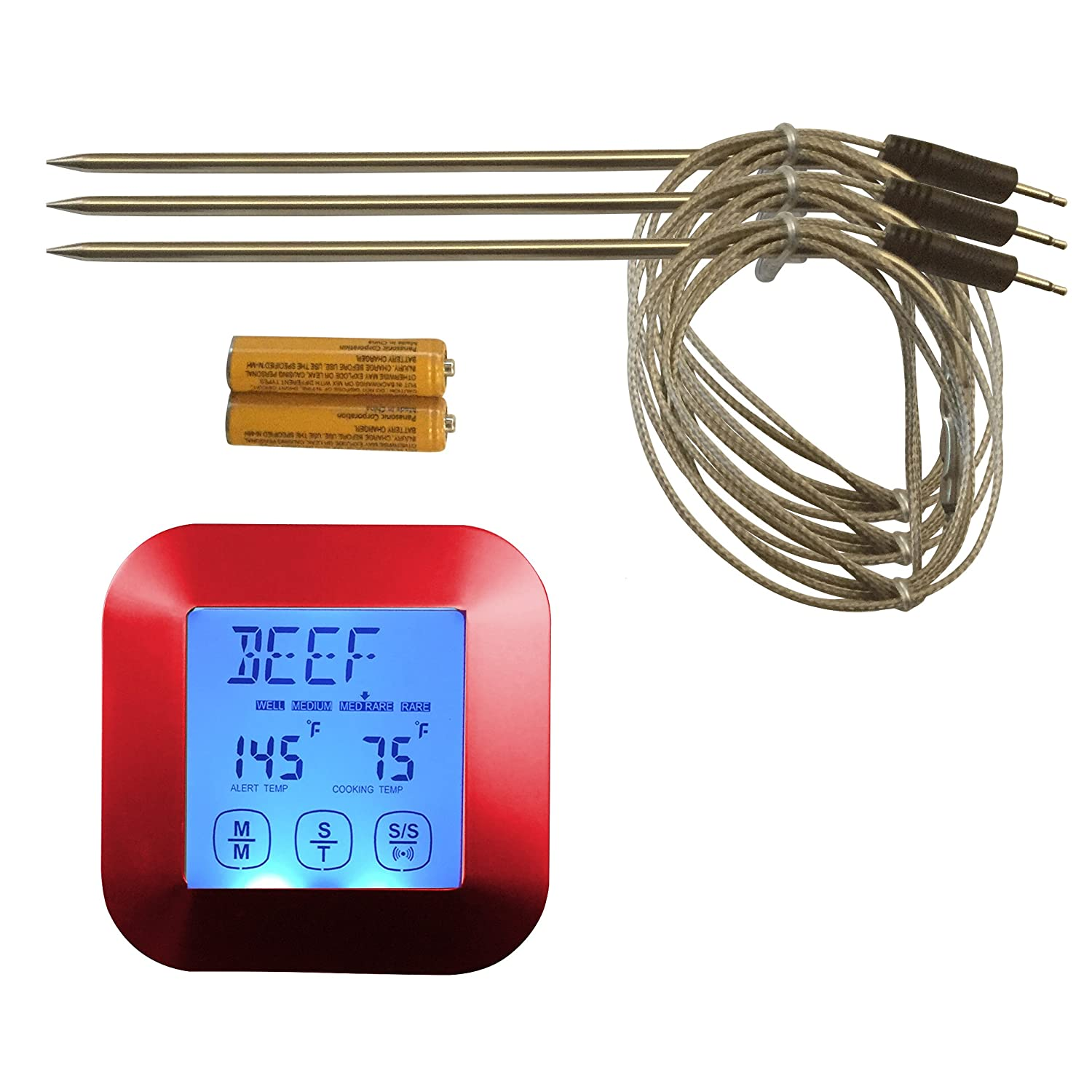 Great Digital Meat Thermometer - with Bonus 3 Temperature Probes!!! Best for Oven, Grill, BBQ, Smoker, in Water & can even work with Candy! Impress your friends and family, cook perfectly every time! by The Clever Cooking Company COMINHKPR150528