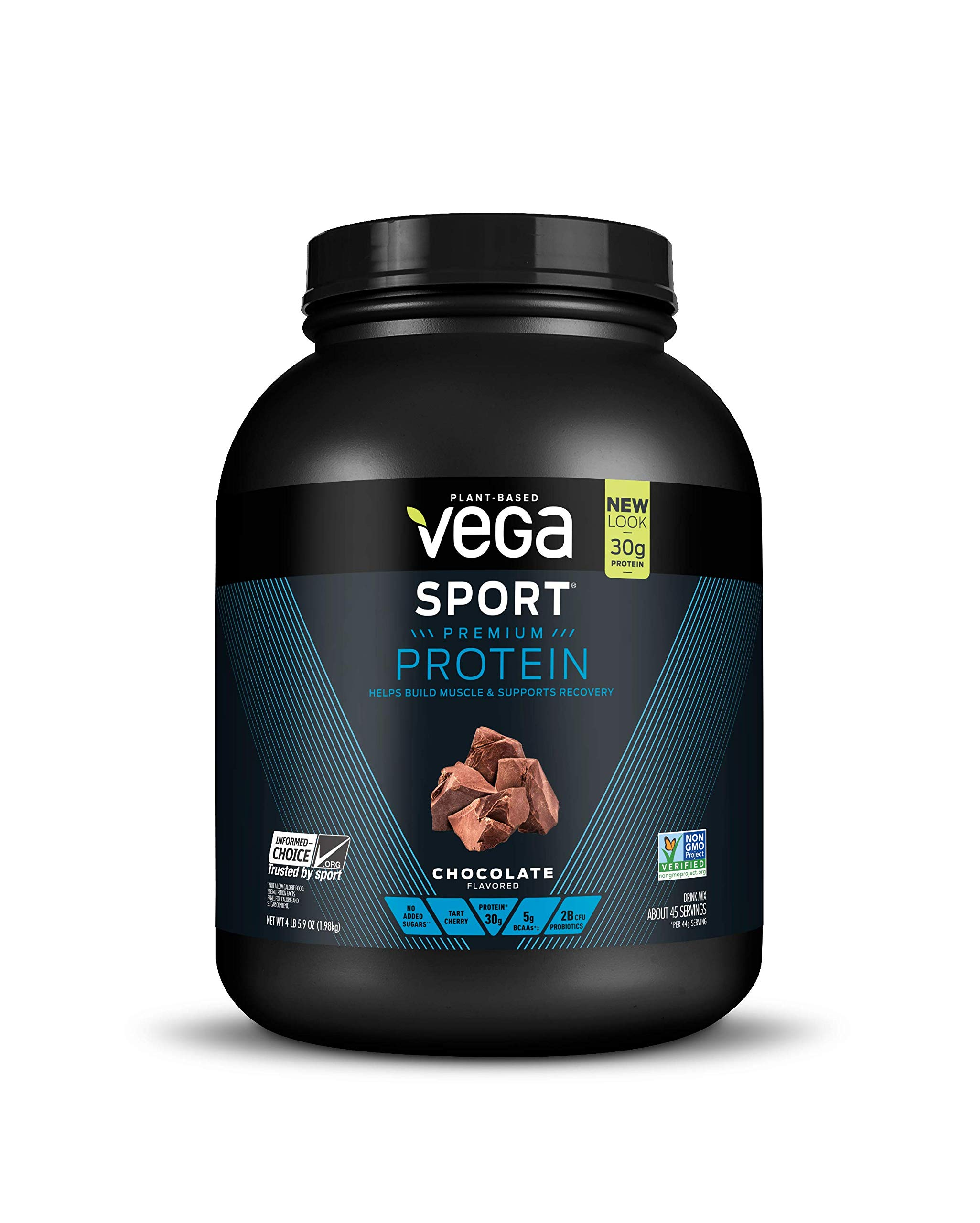Vega Sport Protein Powder Chocolate (45 Servings, 4 lb 5.9oz) - Plant Based Vegan Protein Powder, BCAAs, Amino Acid, Tart Cherry, Non Dairy, Gluten Free, Non GMO (Packaging May Vary)