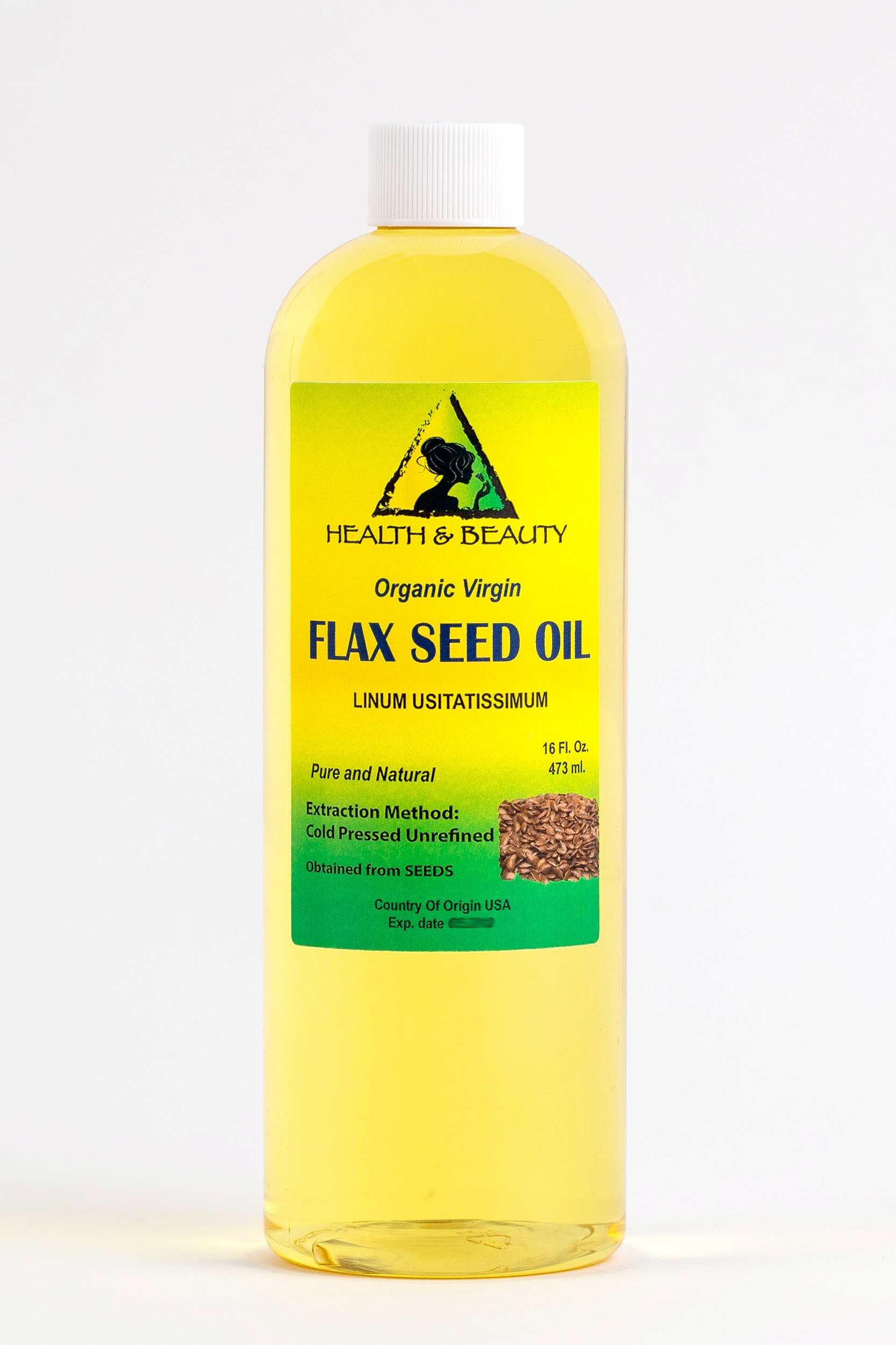 Flax Seed Oil Organic Unrefined by H&B OILS CENTER Raw Virgin Cold Pressed Premium Quality Natural Pure 16 oz