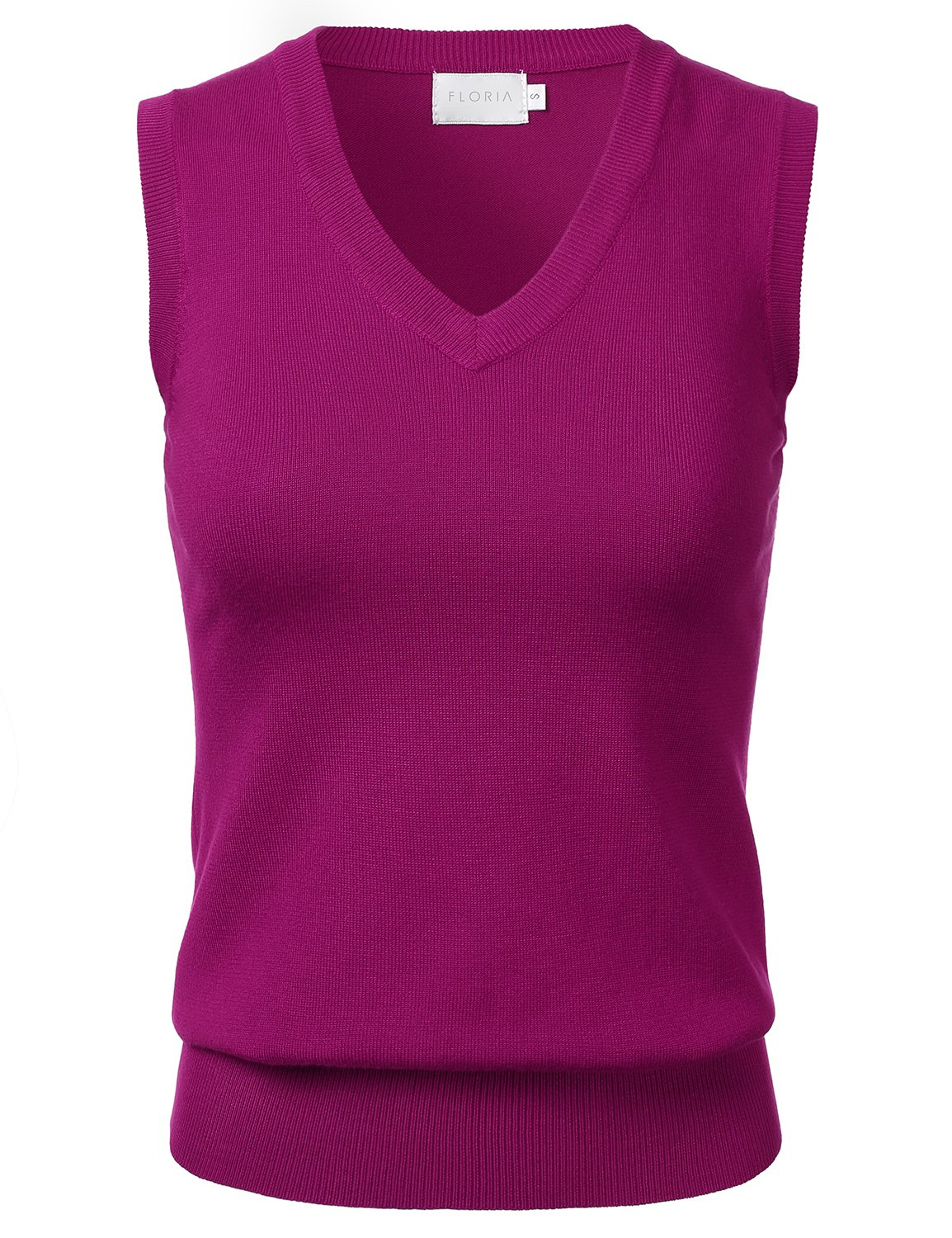 FLORIA Women Solid Clssic V-Neck Sleeveless Pullover Sweater Vest Top Magenta L